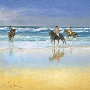 "BLANK CARD ""HORSE RIDING IN THE SEA"" LARGE SQUARE SIZE 6.25"" x 6.25"" BLHI 2033"